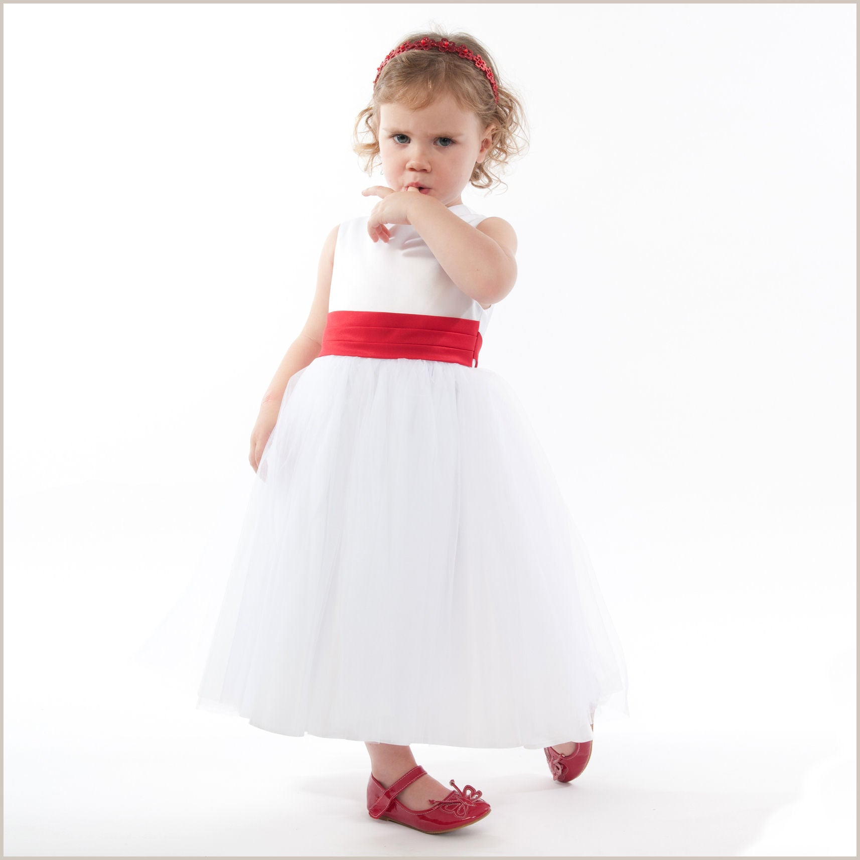 White Flower Girl Dress With Red Sash Great For Winter Wedding With