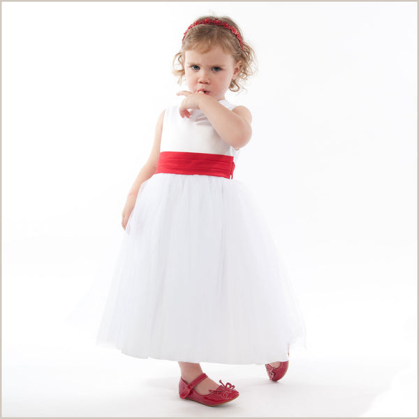 Baby flower girl dresses from birth to toddler 0 24 months vienna white tulle dress with red sash mightylinksfo