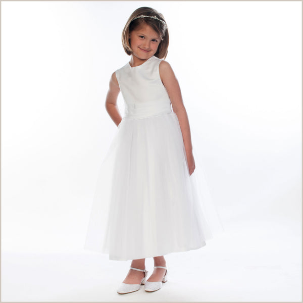 Girls Dress For Bridesmaid Vienna White Tulle Dress With