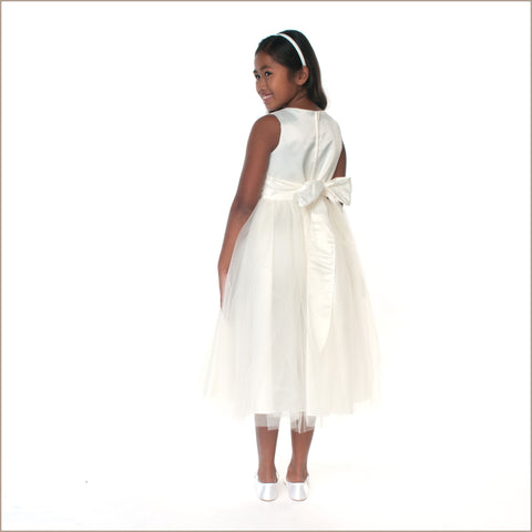 Willow Embroidered Flower Girl Dress in Ivory