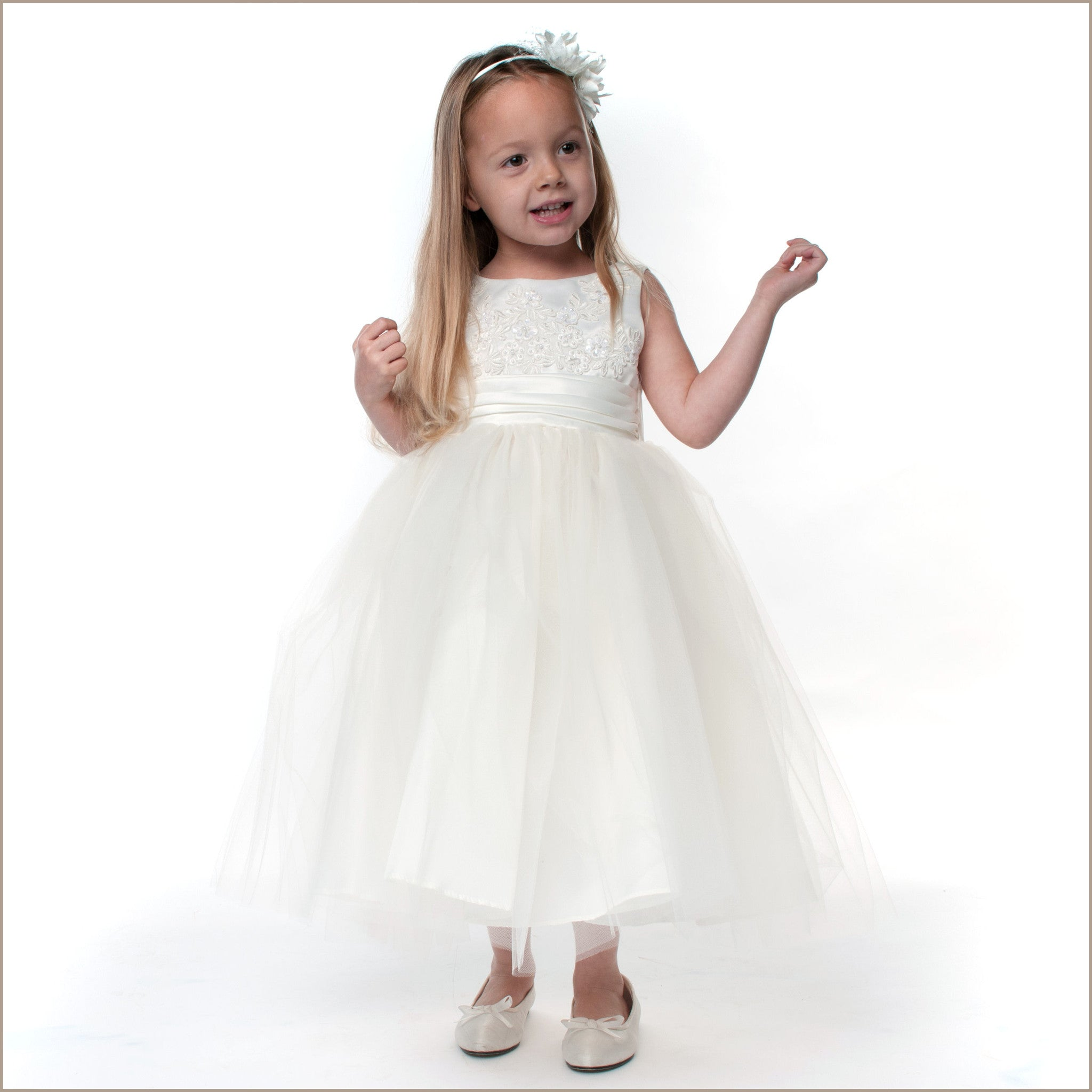 Willow Embroidered ivory flower girl dress Demigella