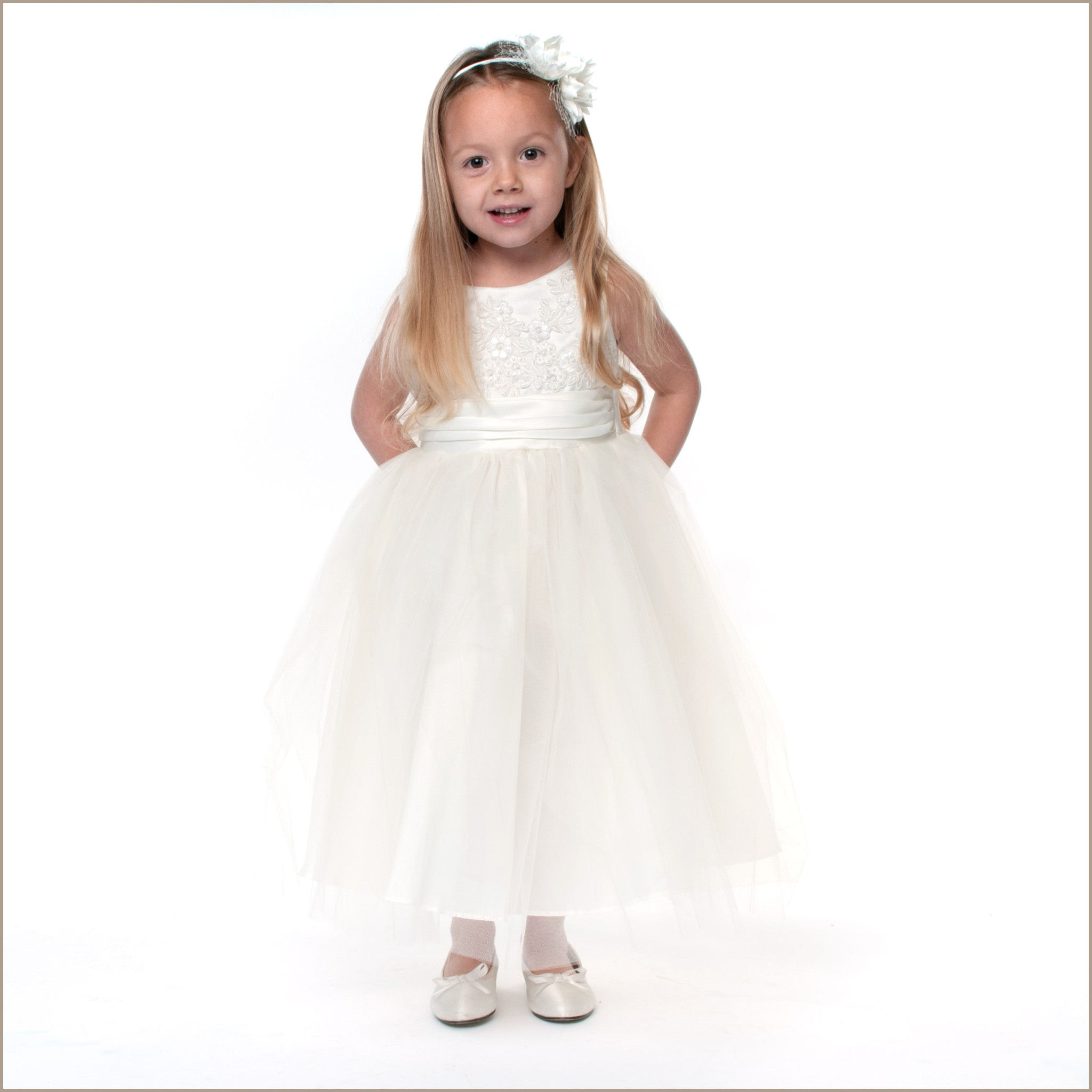 Willow Embroidered Flower Girl Dress in Creamy Ivory only 8y & 12y left