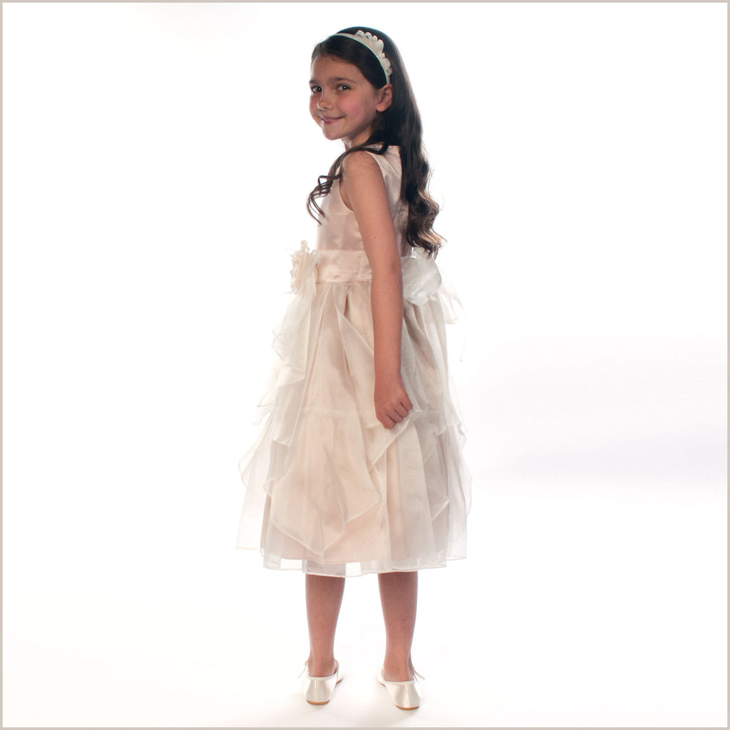 Yamina Flutter Flower Girl Dress in Champagne and Ivory