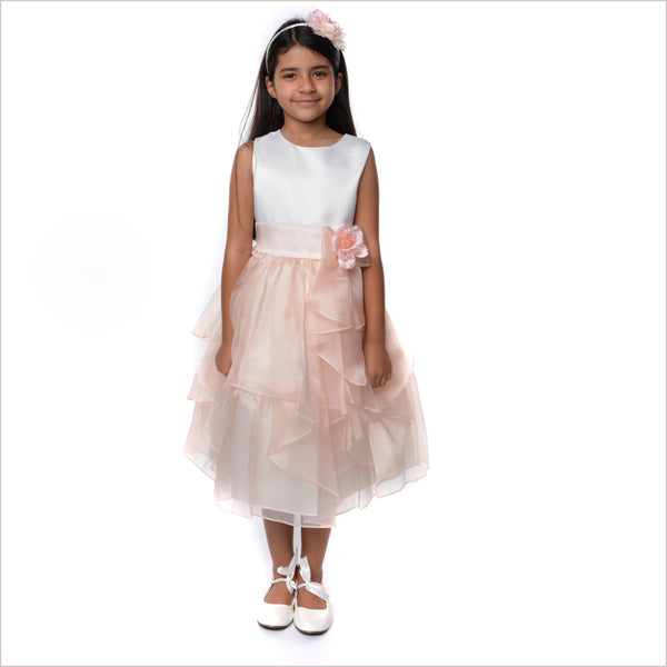 Yamina Flutter Flower Girl Dress in Peach and Ivory