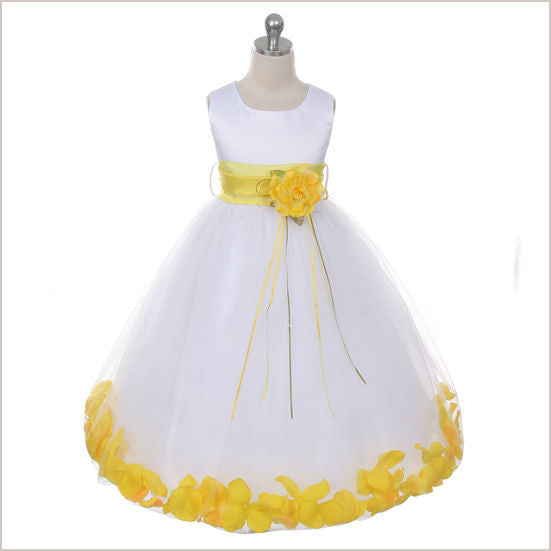 Ivory Petal Dress with Yellow Petals - 5 weeks delivery