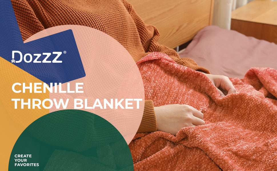 DOZZZ Thick Fluffy Chenille Knitted Throw Blanket Overview 1