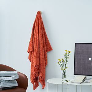 DOZZZ Thick Fluffy Chenille Knitted Throw Blanket Overview 3