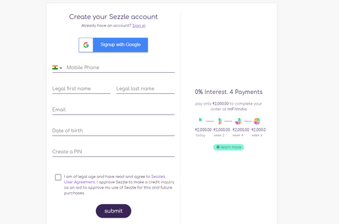 Sezzle Signup