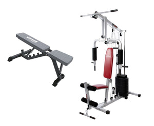 Home Gym Set - Lifeline Home Gym HG002 And Viva Fitness VX-203A Adjustable Utility Bench For Home Use