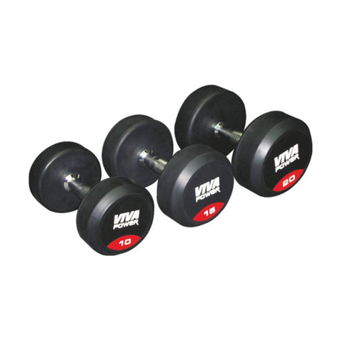 Image of Viva Fitness Power Rubber Coated Solid Dumbbells (1 pair)