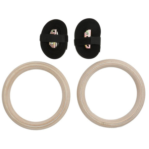 MySpoga Wooden Gymnastic Rings with Adjustable Straps (1 Pair)