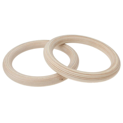 Image of MySpoga Wooden Gymnastic Rings with Adjustable Straps (1 Pair)