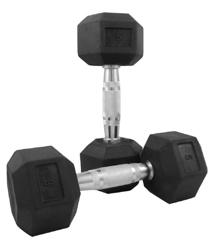 Image of RUBBER COATED PROFESSIONAL FIXED WEIGHT HEXAGONAL DUMBBELL 5 KG (Set Of 2)