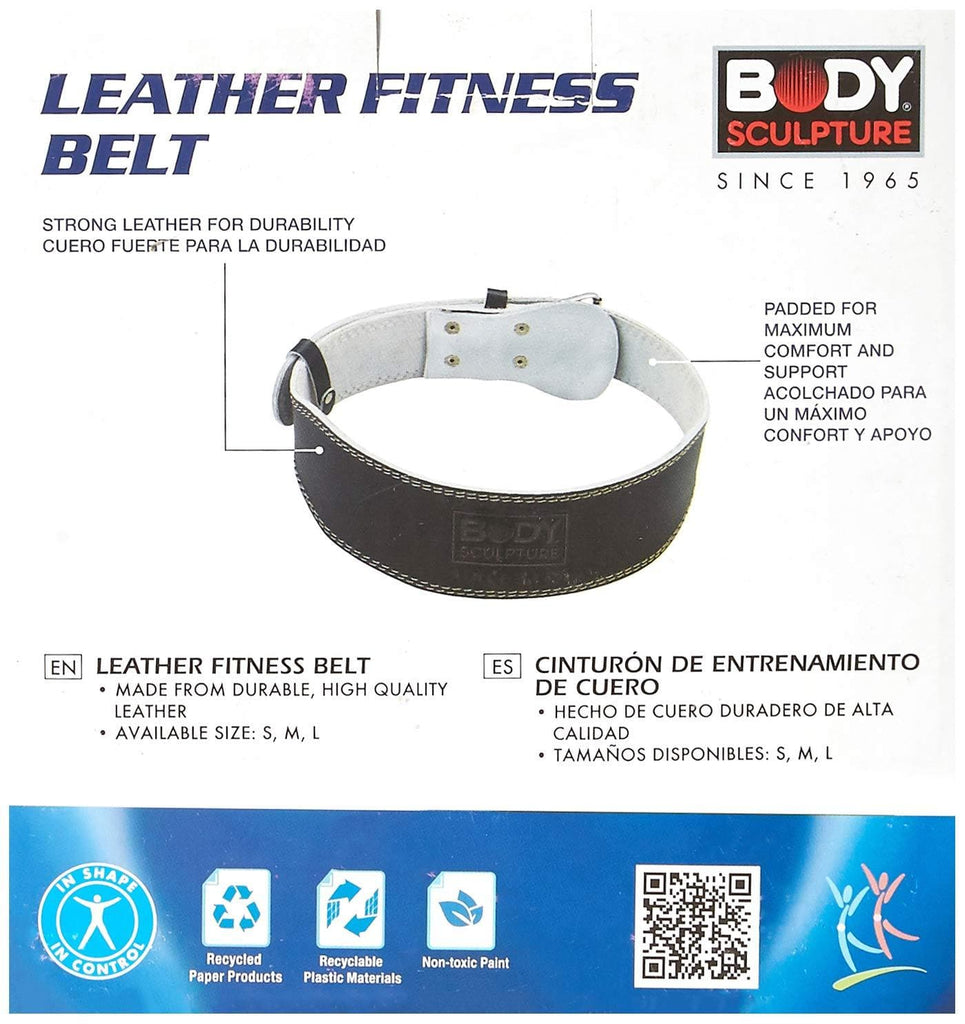 Body Sculpture BW503 Leather Fitness Belt, Medium (Black)