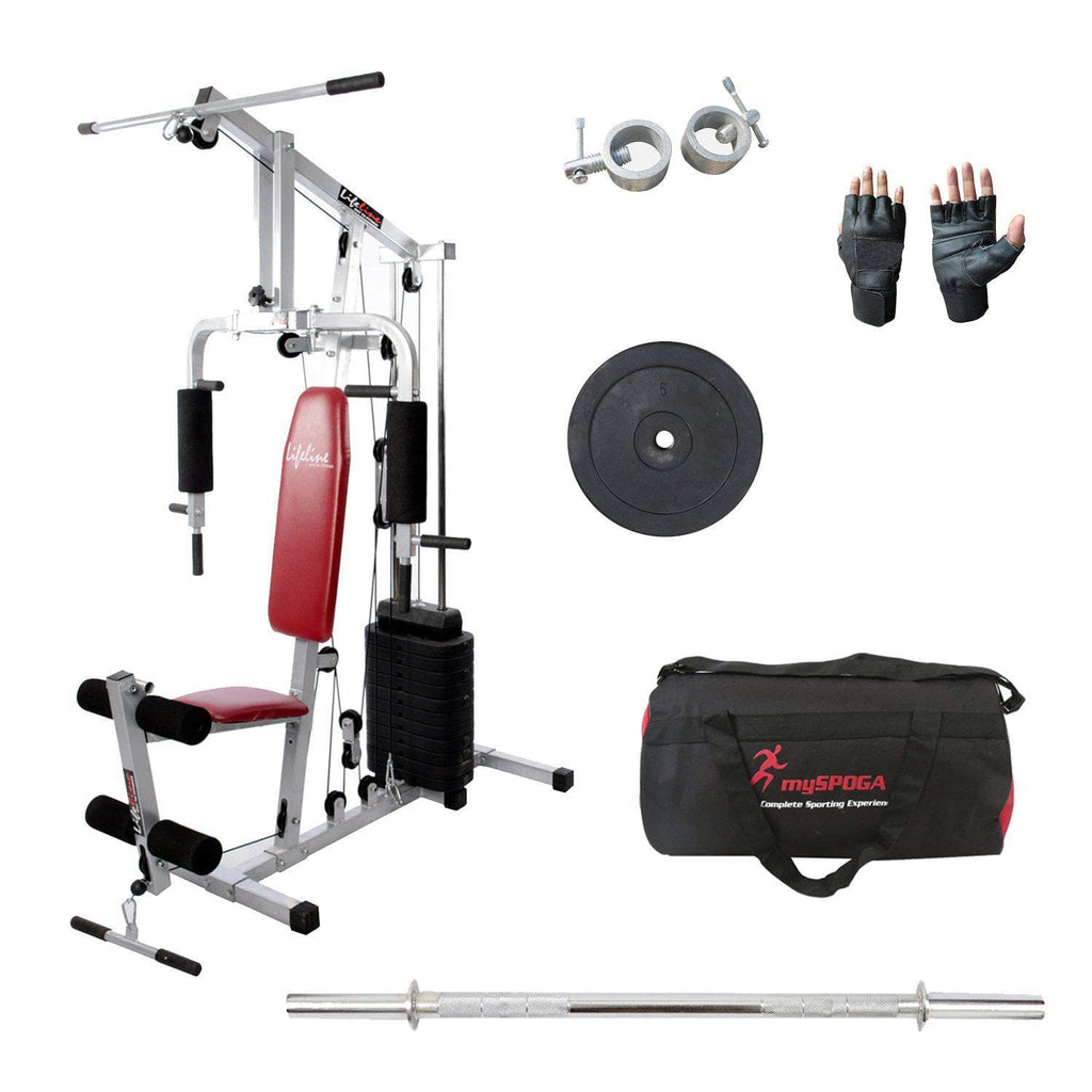 Lifeline Home Gym Machine 002 For Workout At Home Bundles With 5ft Rod 23mm, Lock, 5kg Rubber Weight Plate Set, Gym Gloves and Gym Bag || Available on EMI-IMFIT