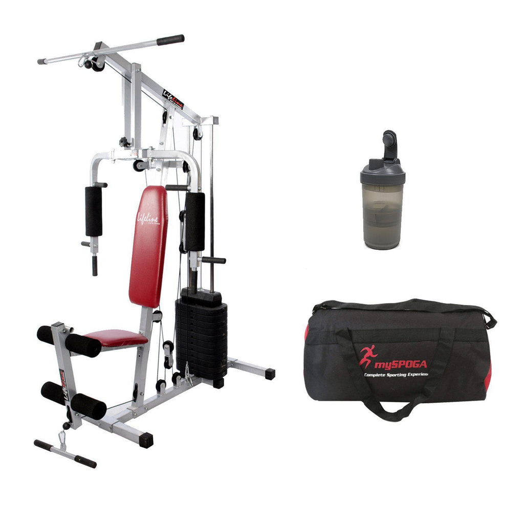Lifeline Home Gym Set 002 For Workout At Home Bundles With Shaker Bottle and Gym Bag || Available on EMI-IMFIT
