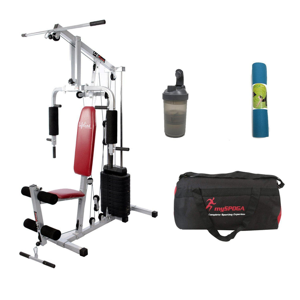 Lifeline Home Gym Station 002 For Workout At Home Bundles With Shaker Bottle, Gym Bag and Yoga Mat || Available on EMI-IMFIT