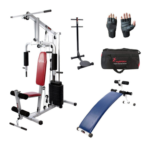 Image of Lifeline Home Gym Setup 002 For Workout At Home Bundles With Gym Bag, Gym Gloves, Standing Twister and Exercise Curve Bench A5501 || Available on EMI-IMFIT