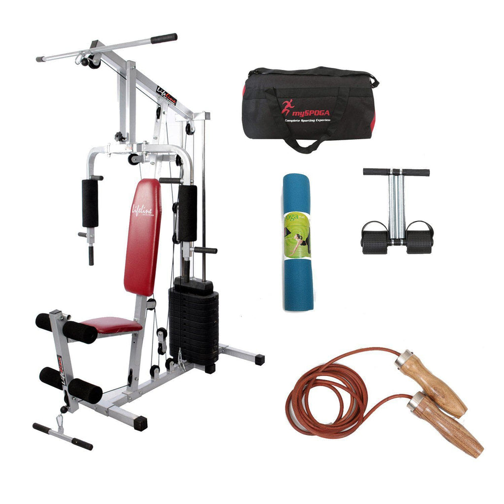 Lifeline Home Gym Set 002 For Workout At Home Bundles With Gym Bag, Yoga Mat, Tummy Trimmer and Skipping Rope 952 || Available on EMI-IMFIT