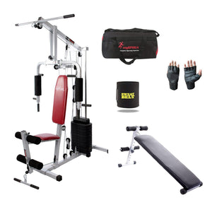 Lifeline Home Gym Machine 002 For Workout At Home Bundles With Gym Bag, Gym Gloves, Sweat Belt and AB Fitness Bench 310 || Available on EMI-IMFIT