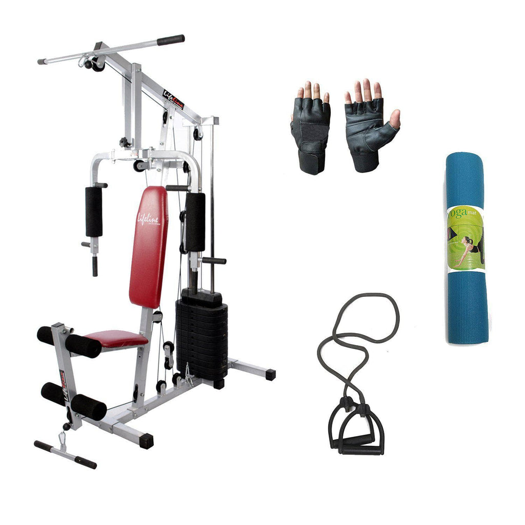 Lifeline Home Gym Machine 002 For Workout At Home Bundles With Resistance Band, Gym Gloves and Yoga Mat || Available on EMI-IMFIT