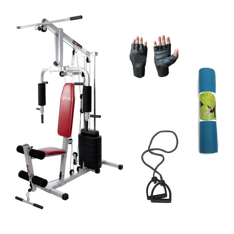 Image of Lifeline Home Gym Machine 002 For Workout At Home Bundles With Resistance Band, Gym Gloves and Yoga Mat || Available on EMI-IMFIT