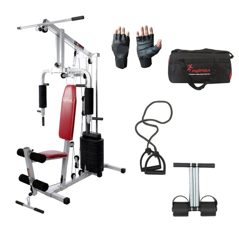 Lifeline Home Gym Setup 002 For Workout At Home Bundles With Resistance Band, Gym Gloves, Tummy Trimmer and Gym Bag || Available on EMI-IMFIT