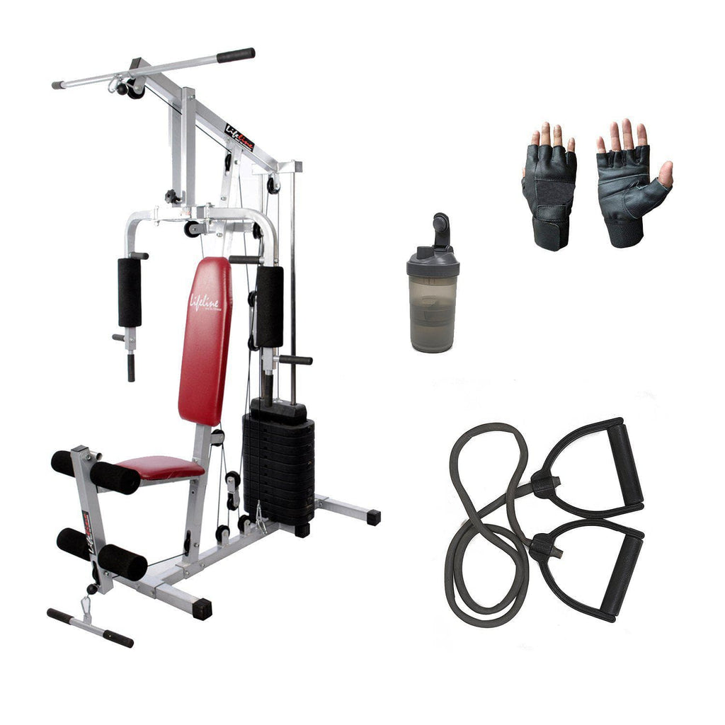 Lifeline Home Gym Station 002 For Workout At Home Bundles With Resistance Band, Gym Bag and Shaker Bottle || Available on EMI-IMFIT