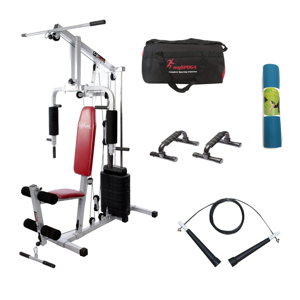 Lifeline Home Gym Set 002 For Workout At Home Bundles With Push up Bar, Gym Bag, Skipping Rope and Yoga Mat || Available on EMI-IMFIT