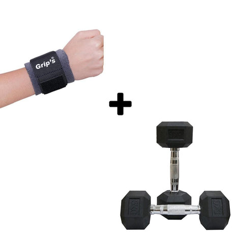Rubber Coated Hexagonal Dumbbells Set Bonus With Wrist Band-IMFIT