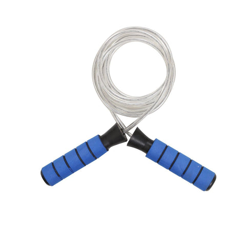 Image of Myspoga 915 6 Feet Skipping Rope For Workout | Plastic Rubber Coated Handle With PVC Euro2 Coated On Steel Wire Rope (Blue)