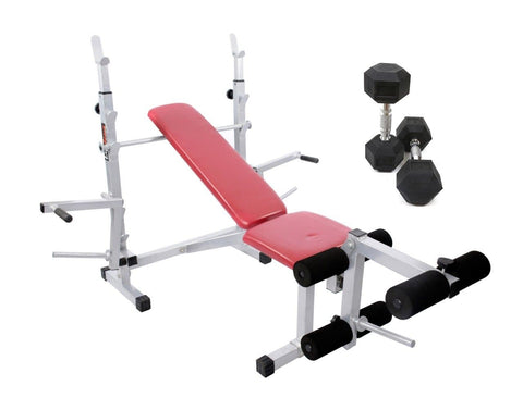 Image of Lifeline 309A Multi Bench Press 8 in 1 Home Gym Machine With Dumbbell Pair
