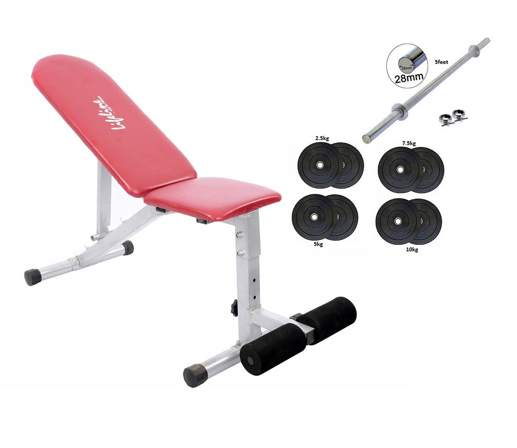 Lifeline 311A Adjustable Gym Bench + Weight Plates + 5ft Rods