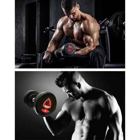 Image of Fit Bull Rubber Coated Professional Round Dumbbells Set Bonus With Wrist Band-IMFIT