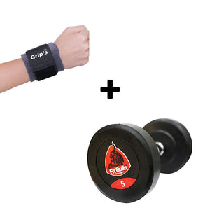 Fit Bull Rubber Coated Professional Round Dumbbells Set Bonus With Wrist Band-IMFIT