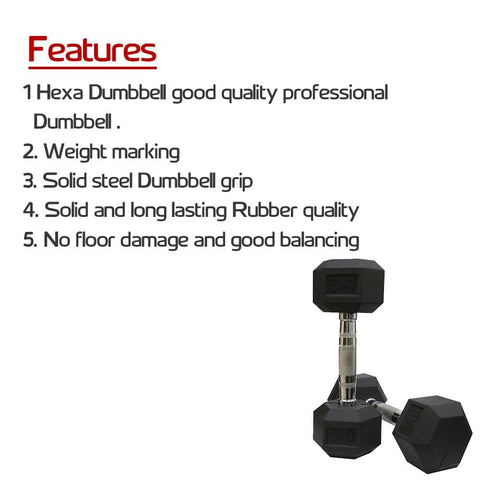 Image of Rubber Coated Hexagonal Dumbbells Set Bonus With Wrist Band-IMFIT