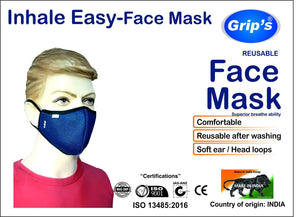 Grip's Reusable Face Mask for Men and Women (Pack of 3)