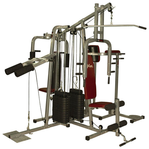 Image of Lifeline 6 Station Home Gym - Lifeline Fitness Equipment 6 Station Home Gym with 2 Weight Lines