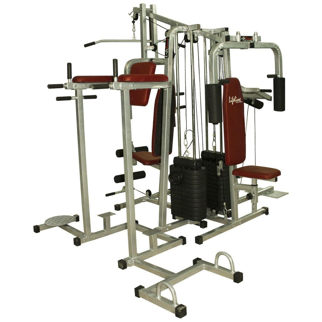 Lifeline 6 Station Home Gym - Lifeline Fitness Equipment 6 Station Home Gym with 2 Weight Lines