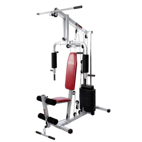 Image of Lifeline Home Gym Machine 002 For Workout At Home Bundles With Resistance Band, Full Round Foam Roller and Fitness Curve Bench 5501A || Available on EMI-IMFIT