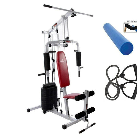 Image of Lifeline Home Gym Setup 002 For Workout At Home Bundles With Resistance Band and Full Round Foam Roller || Available on EMI-IMFIT