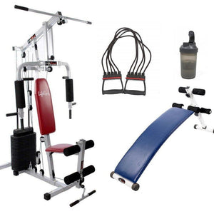 Lifeline Home Gym Station 002 For Workout At Home Bundles With Chest Expander, Shaker Bottle and Gym Curve Bench 5501A || Available on EMI-IMFIT