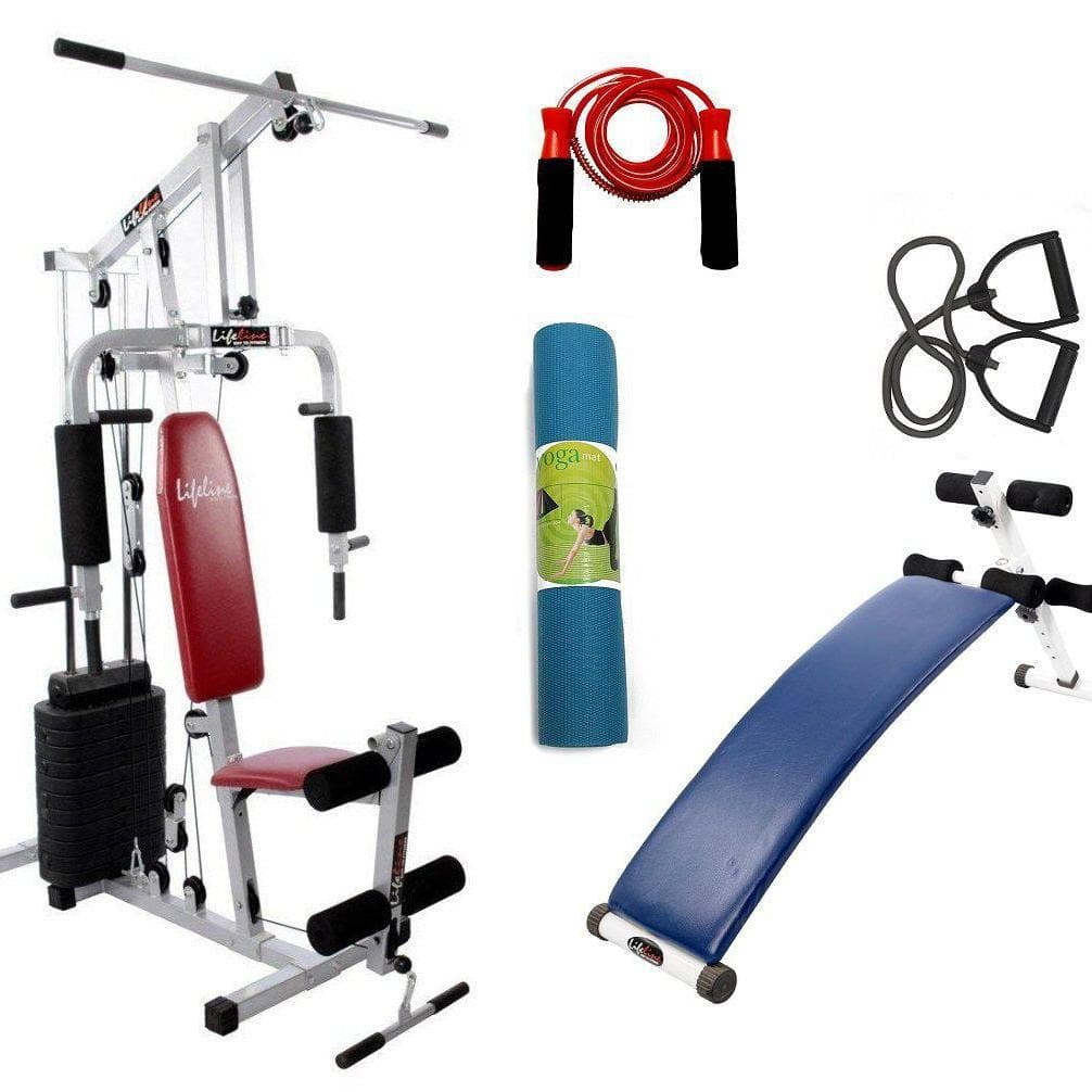 Lifeline Home Gym Setup 002 For Workout At Home Bundles With Resistance Band, Skipping Rope, Yoga Mat and Exercise Curve Bench 5501A || Available on EMI-IMFIT