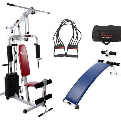 Image of Lifeline Home Gym Setup 002 For Workout At Home Bundles With Chest Expander, Gym Bag and Exercise Curve Bench 5501A || Available on EMI-IMFIT