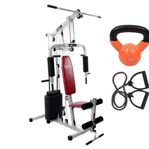 Image of Lifeline Home Gym Weight Machine Set 002 For Workout At Home Bundles With Resistance Band and Kettle Bell 4 Kg || Available on EMI-IMFIT