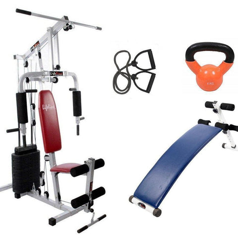 Image of Lifeline Home Gym System 002 For Workout At Home Bundles With Resistance Band, Kettle Bell 4 Kg and Gym Curve Bench 5501A || Available on EMI-IMFIT