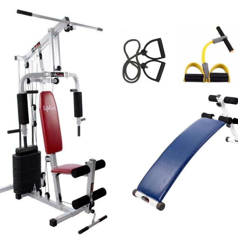Lifeline Home Gym Setup 002 For Workout At Home Bundles With Resistance Band, Pull Reducer and Exercise Curve Bench 5501A || Available on EMI-IMFIT