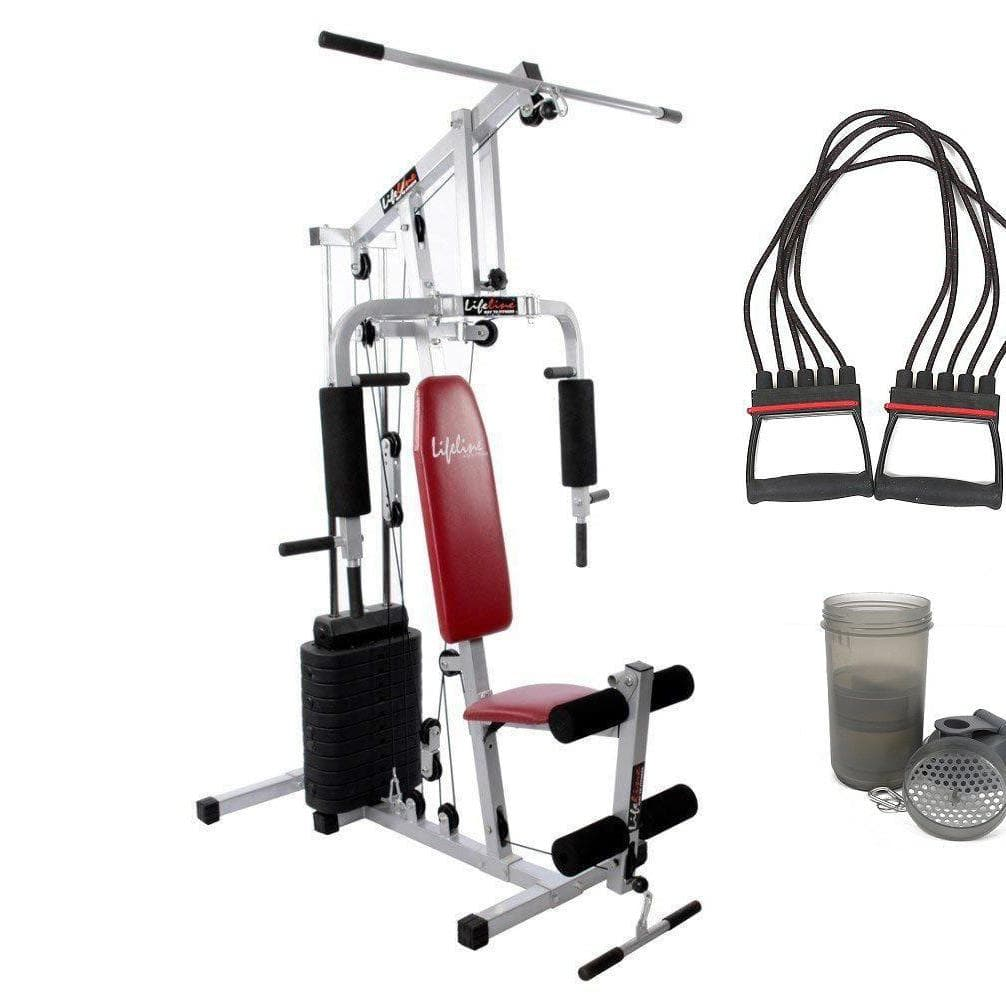 Lifeline Home Gym Equipment Set 002 For Workout At Home Bundles With Chest Expander and Shaker Bottle || Available on EMI-IMFIT