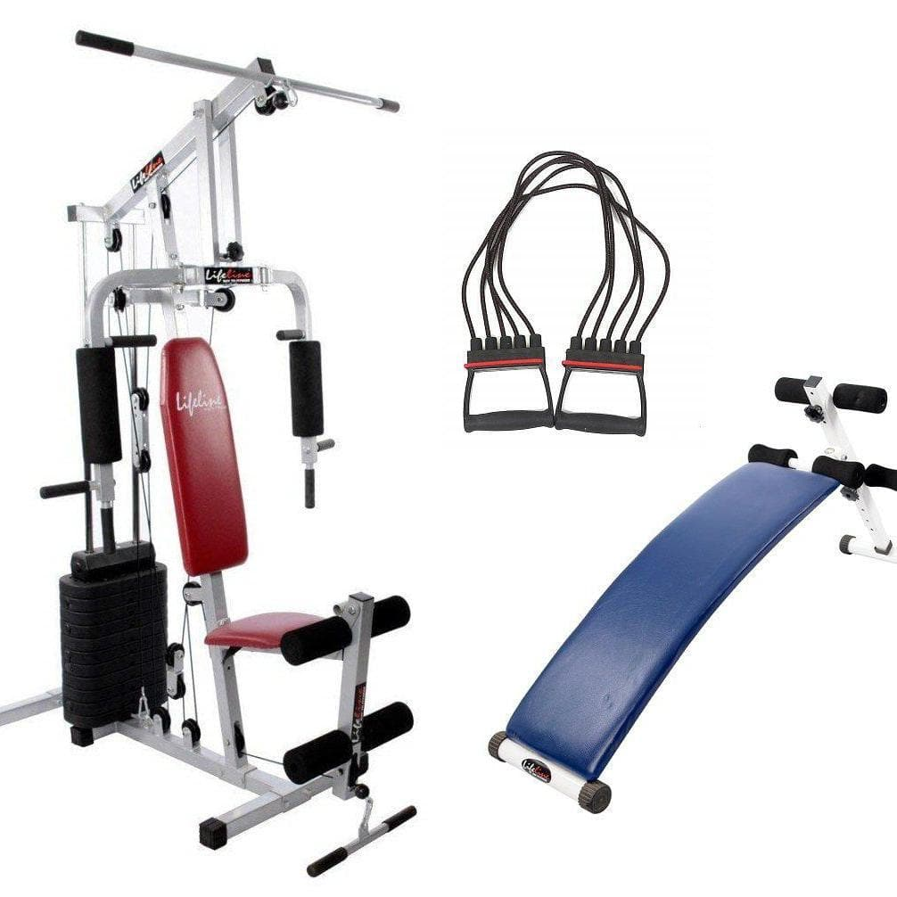 Full Gym Equipment - Lifeline Home Gym Set 002 Bundles With Chest Expander and Exercise Curve Bench 5501A