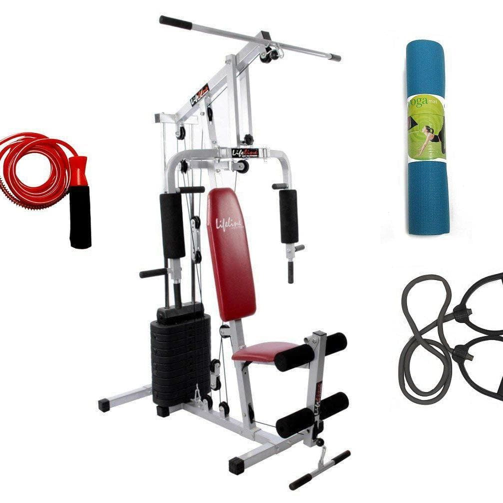 Lifeline Home Gym Machine 002 For Workout At Home Bundles With Resistance Band, Skipping Rope and Yoga Mat || Available on EMI-IMFIT